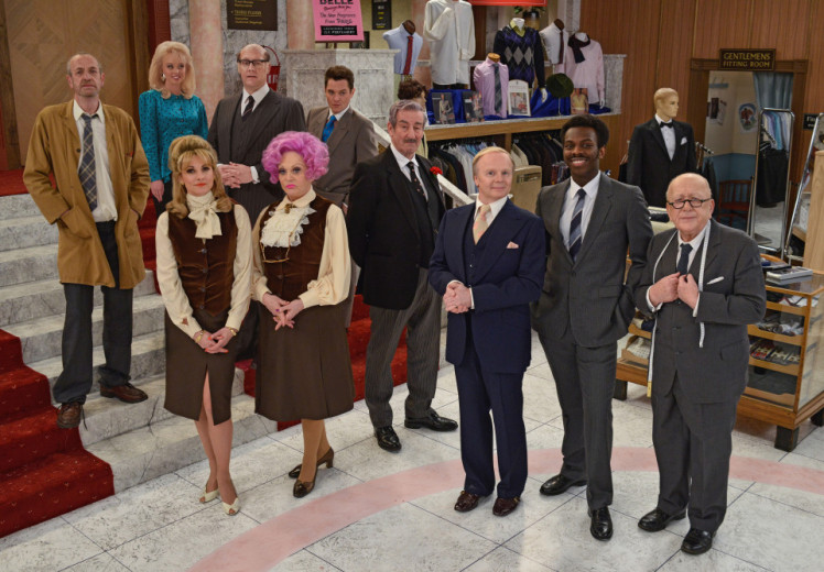 Programme Name: Are You Being Served? - TX: n/a - Episode: n/a (No. n/a) - Picture Shows: Miss Croft (Jorgie Porter), Miss Brahms (Niky Wardley), Mr Rumbold (Justin Edwards), Mrs Slocombe (Sherrie Hewson), Mr Grace (Matthew Horne), Captain Peacock (John Challis), Mr Humphries (Jason Watkins), Mr Conway (Kayode Ewumi), Mr Grainger (Roy Barraclough), Mr Harman (Arthur Smith) - (C) BBC - Photographer: Kieron McCarron